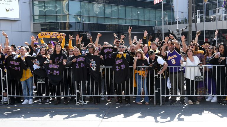 LOS ANGELES, CALIFORNIA - FEBRUARY 24: Fans leave the Staples Center following the Kobe Bryant & Gianna Bryant Memorial on February 24, 2020 in Los Angeles, California. (Photo by Allen Berezovsky/Getty Images)