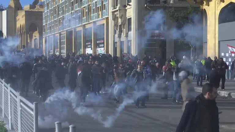 Security services attempt to disperse demonstrators with tear gas