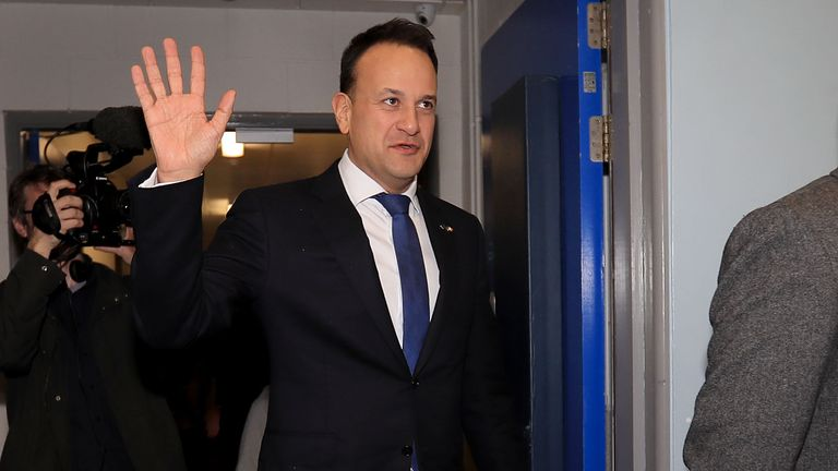 Fine Gael Leader Leo Varadkar arrives at the count centre in on February 9, 2020 in Dublin, Ireland