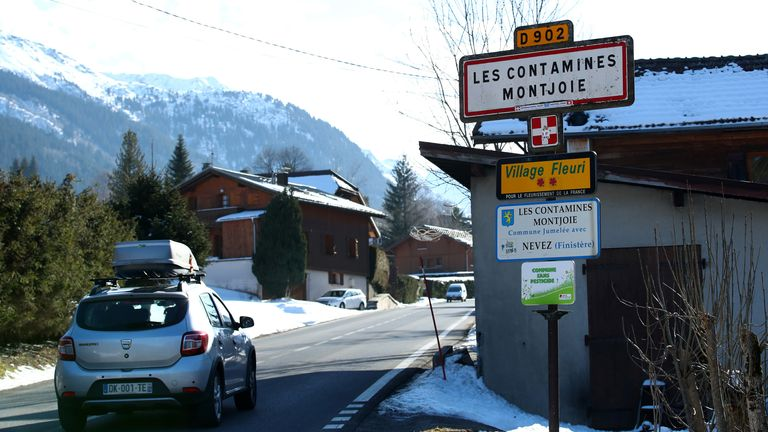 A general view shows the French Alpine resort of Les Contamines-Montjoie, France, where five British nationals including a child have been diagnosed with the coronavirus, after staying in the same ski chalet with a person who had been in Singapore, February 8, 2020. REUTERS/Denis Balibouse