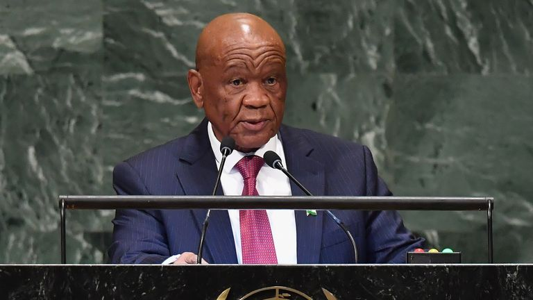 Lesotho Prime Minister Thomas Motsoahae Thabane addresses the 73rd session of the General Assembly at the United Nations in New York on September 28, 2018.