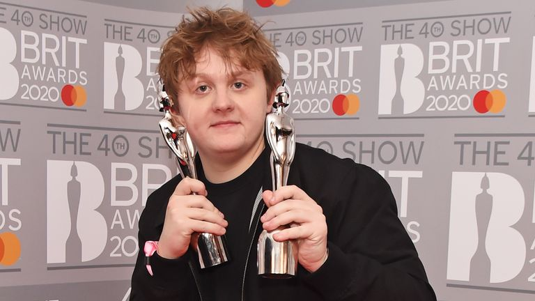Lewis Capaldi, winner of the Best New Artist and Song Of The Year awards, poses in the winners room at The BRIT Awards 2020 at The O2 Arena on February 18, 2020 in London, England