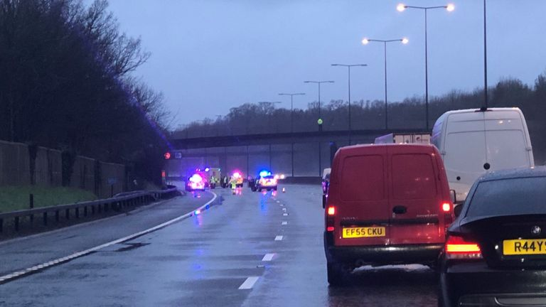 The carriageway was closed on the M25 after the woman's death this morning