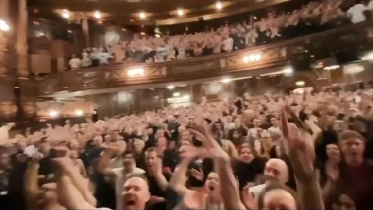 The crowd cheer Madonna on at the London Palladium. Pic: Instagram/@Madonna