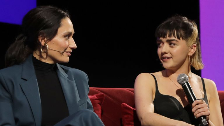 Sian Clifford and Maisie Williams during a Q&A at the Sky TV, Up Next Event at Tate Modern on February 12, 2020 in London, England. Up Next is Sky's inaugural showcase event to promote the quality and range of programming that will be on air in 2020, to an audience of 250+ industry experts and media
