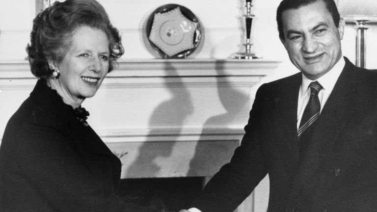 Mubarak met with Margaret Thatcher for talks in 1985 - four years into his three-decade rule