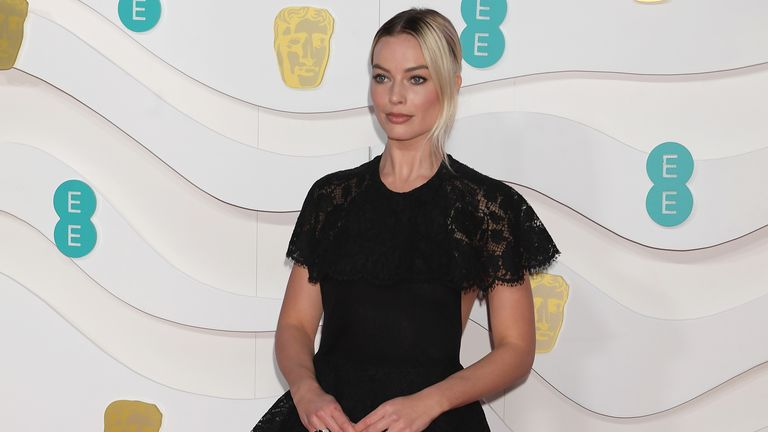 Margot Robbie arrives at the EE British Academy Film Awards 2020 at Royal Albert Hall on February 2, 2020 in London
