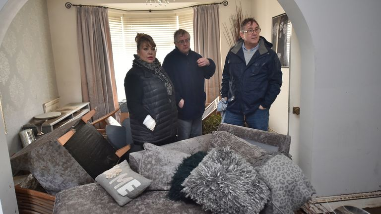 Welsh First Minister Mark Drakeford (centre) has been visiting many of the 1,000 properties affected by Storm Dennis