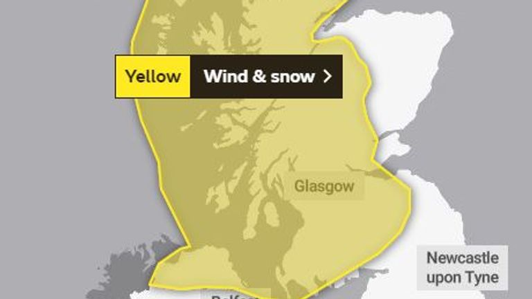 Strong winds and snow is forecast for Scotland and Northern Ireland on Monday and Tuesday
