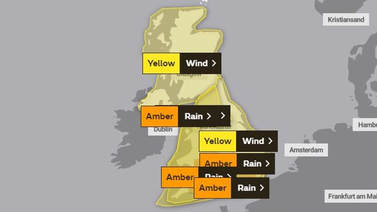 Weather warnings for Sunday. Pic: Met Office