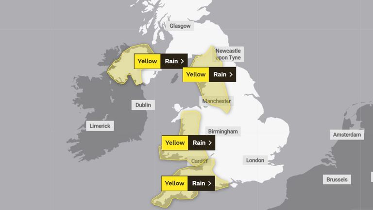 Several yellow weather warnings for rain are in place today. Pic: Met Office