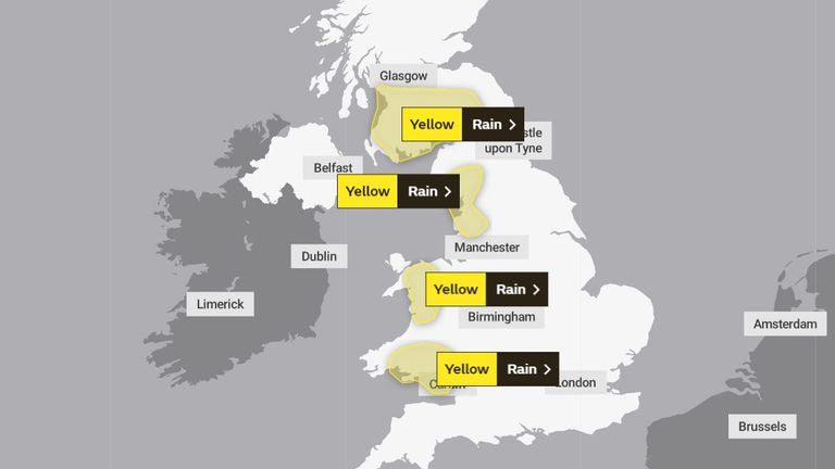 Four Met Office weather warnings are currently in force
