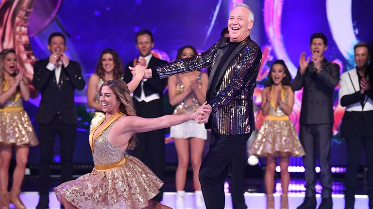 Alex Murphy and Michael Barrymore during the Dancing On Ice 2019 photocall at the Dancing On Ice Studio, ITV Studios, Old Bovingdon Airfield on December 09, 2019 in Bovingdon, England