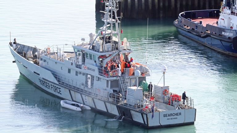 """Migrants are brought ashore on the Border Force vessel Searcher in Dover after HM Coastguard said it is responding to """"a number of incidents"""" in the English Channel, along with Border Force, Kent Police and RNLI lifeboats. PA Photo. Picture date: Thursday February 6, 2020. See PA story SEA Migrants . Photo credit should read: Gareth Fuller/PA Wire"""