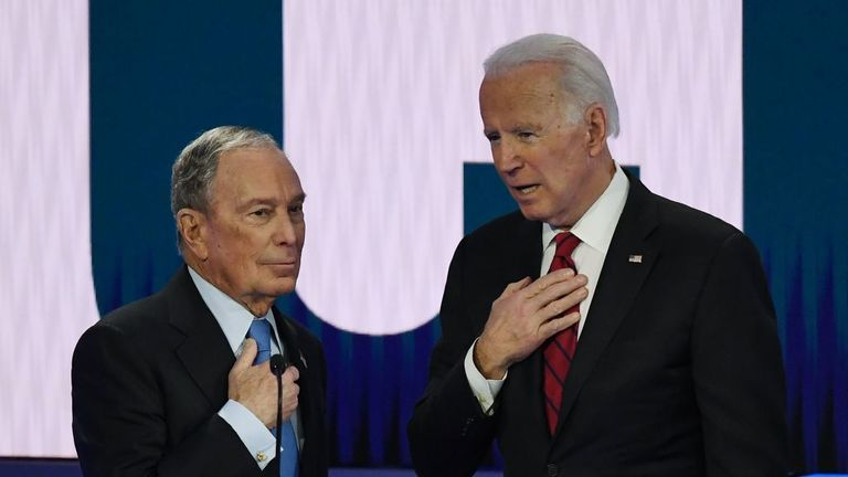 Mr Bloomberg and Joe Biden at the Paris Theater in Las Vegas