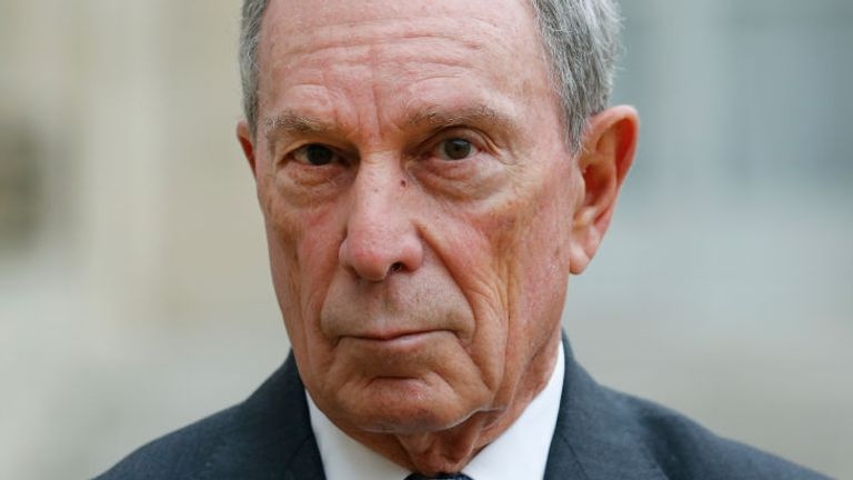 PARIS, FRANCE - MARCH 09: Former Mayor of New York City, Michael Bloomberg makes a statement after his meeting with French President Francois Hollande and Paris City Mayor Anne Hidalgo at the Elysee Presidential Palace on March 09, 2017 in Paris, France. Michael Bloomberg is now United Nations Special Envoy for Cities and Climate. (Photo by Chesnot/Getty Images)