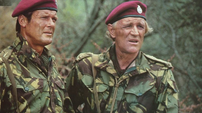 Roger Moore (L) and Richard Harris in a scene from the 1978 movie Wild Geese