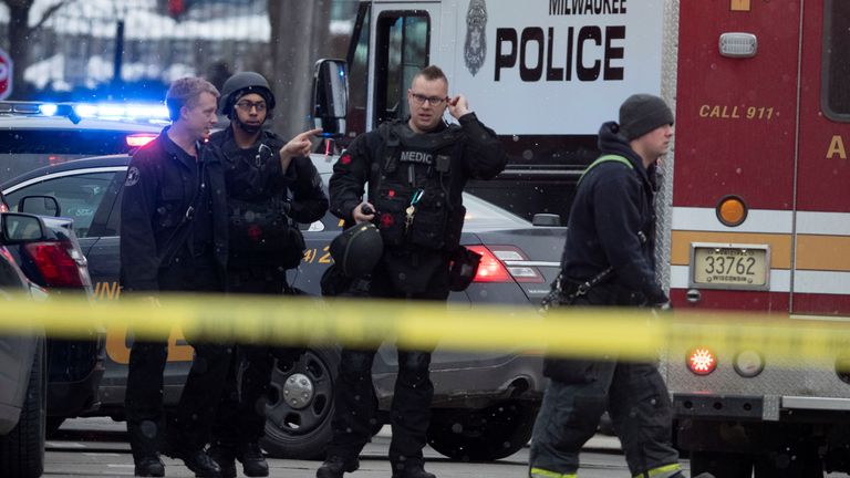 Police and emergency officers work in an active shooter scene at the Molson Coors headquarters in Milwaukee, Wisconsin, February 26, 2020.