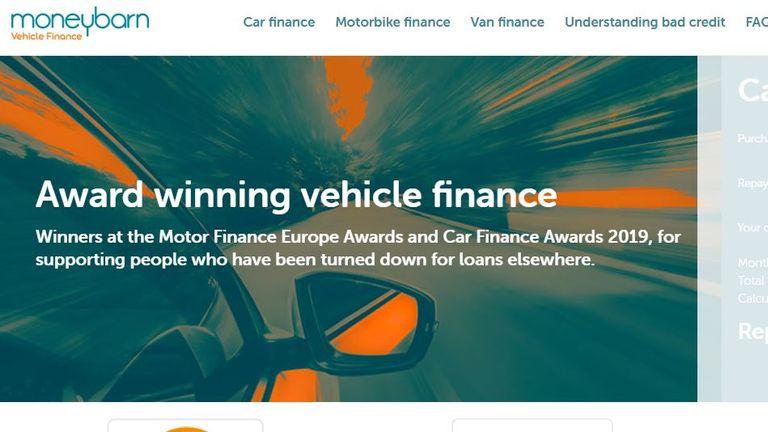 Moneybarn website screengrab 17/02/20