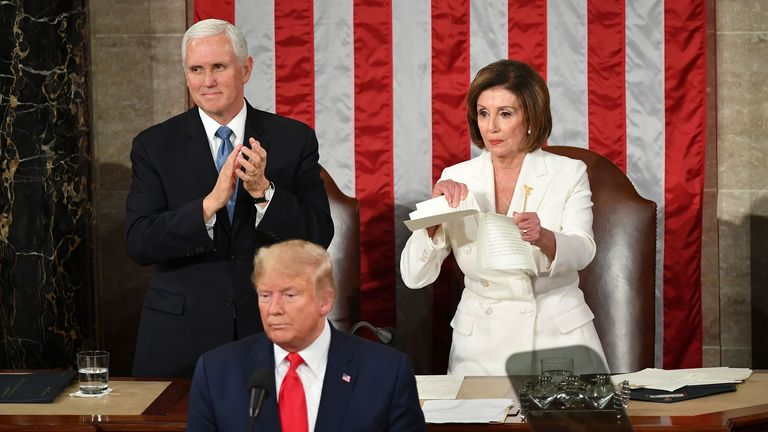 Nancy Pelosi ripped up a copy of Donald Trump's State of the Union speech behind his back