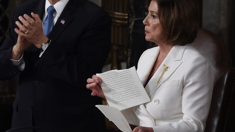 Nancy Pelosi described Mr Trump's speech as a 'manifesto of mistruths'