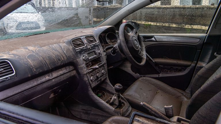 The inside of a car that was flooded in Nantgarw, South Wales