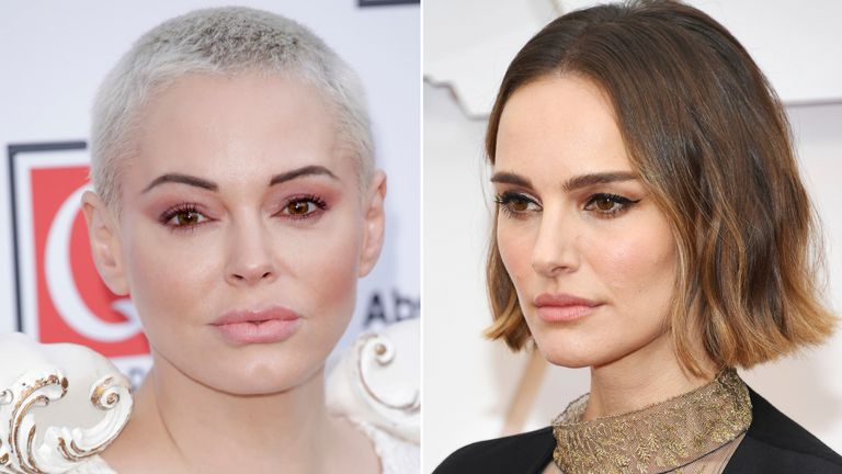 Rose McGowan attends the Q Awards 2019 at The Roundhouse on October 16, 2019 in London, England/ Natalie Portman at the 2020 Oscars