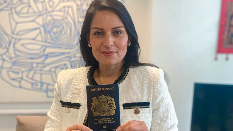 Home Secretary Priti Patel with the new UK passport