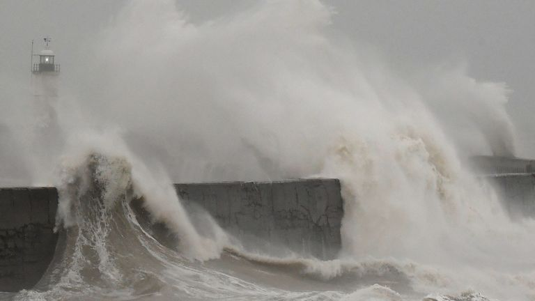 Large waves caused by Storm Ciara hit the the seafront and wall in Newhaven, Britain February 9, 2020