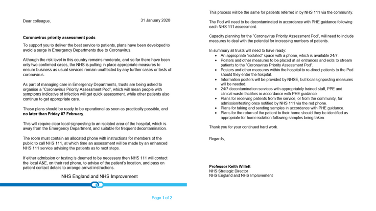 The letter sent to hospitals on Wednesday