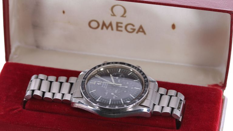 Undated handout photo issued by Gardiner Houlgate of a Omega Speedmaster watch gifted to the Shah of Iran by the Apollo 11 astronauts in 1969 and was later gifted to British helicopter pilot Robin White, from Dorset, who is now selling it. PA Photo. Issue date: Thursday February 6, 2020. The watch was first presented to the Shah of Iran in 1969 by the crew of Apollo 11 as they toured their world following their historic first moon landing. The Shah re-gifted it to his half-sister, Princess Fatem