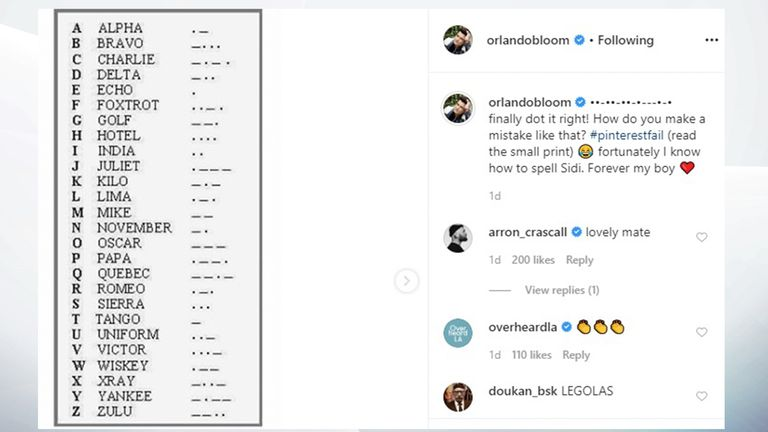 Bloom also shared a photo of the Morse code alphabet. Pic: Orlando Bloom/Instagram