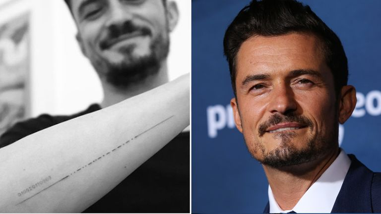 Orlando Bloom has shared a picture of his corrected tattoo