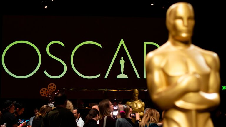 An Oscar statue stands during a preview for the Governors Ball during the 91st annual Academy Awards