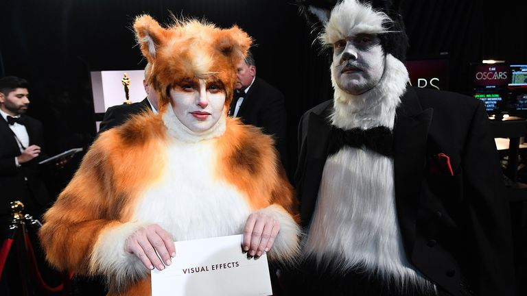 Cats stars James Corden and Rebel Wilson poked fun of the film at the Oscars