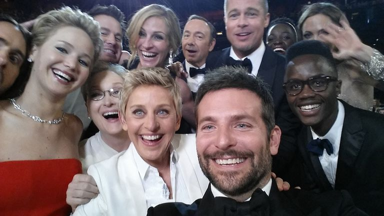 The ultimate Oscar selfie courtesy of Bradley Cooper