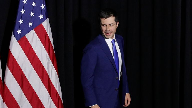 Democratic presidential candidate Pete Buttigieg walks on stage before addressing supporters during his caucus night watch party on February 03, 2020 in Des Moines, Iowa