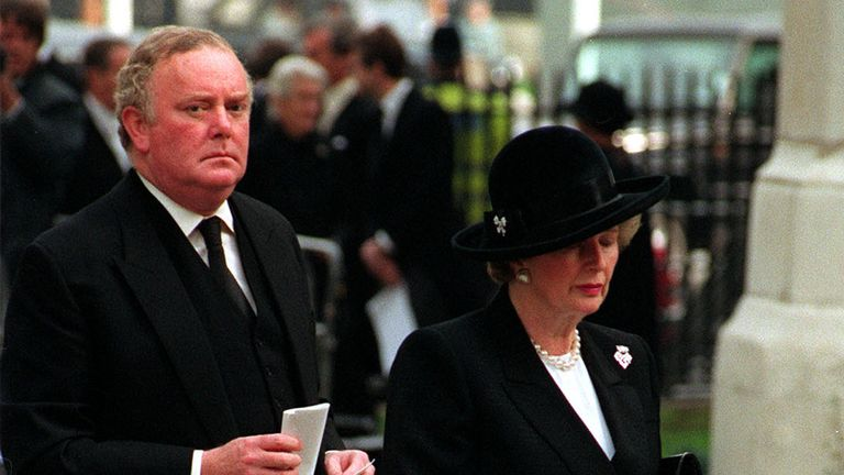 Prime Minister Margaret Thatcher with her private secretary Peter Morrison arriving for the Ian Gow memorial service at St. Margaret's, Westminister, London.