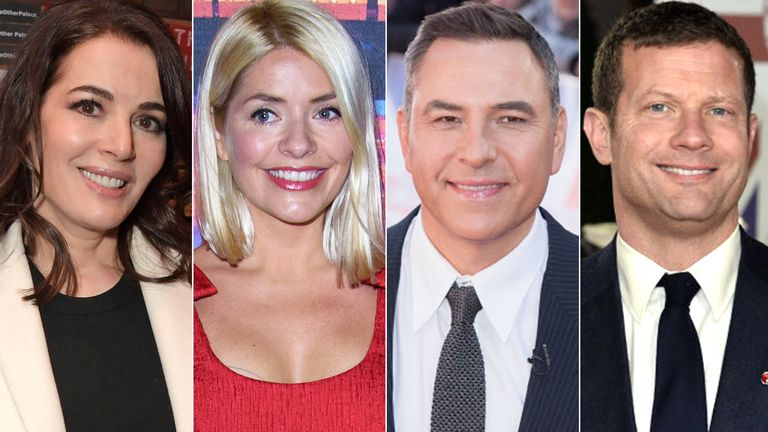 Nigella Lawson, Holly Willoughby, David Walliams and Dermot O'Leary