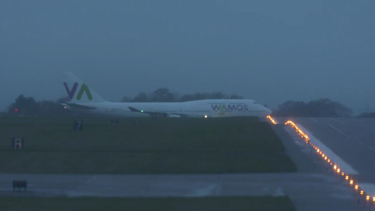 The plane arrived at RAF Brize Norton in Oxfordshire on Sunday morning