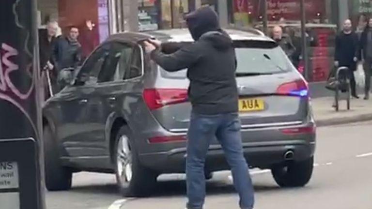 Police point gun