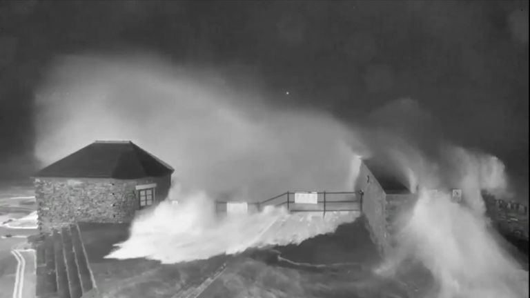 Strong winds from Storm Ciara have caused high waves to batter the coastline in Porthcawl in Wales.