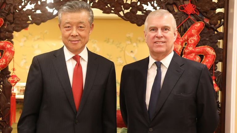 Prince Andrew poses for pictures with the Chinese ambassador to the UK. Pic: @AmbLiuXiaoMing