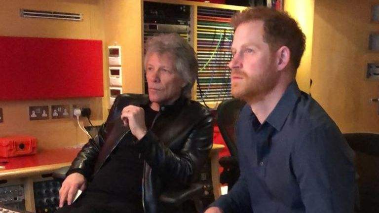 Harry and Bon Jovi in the control room. Pic: Twitter/@WeAreInvictus