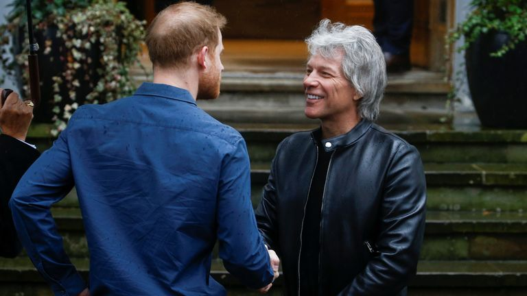 Prince Harry meets singer Bon Jovi at the famous Abbey Road Studios in London