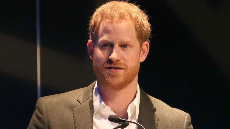 The Duke of Sussex speaking during a sustainable tourism summit at the Edinburgh International Conference Centre in Edinburgh. PA Photo. Picture date: Wednesday February 26, 2020. See PA story ROYAL Sussex. Photo credit should read: Andrew Milligan/PA Wire
