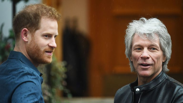 Prince Harry and Jon Bon Jovi meet at Abbey Road