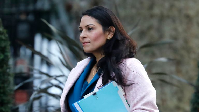 Home Secretary Priti Patel arrives in Downing Street to attend a cabinet meeting