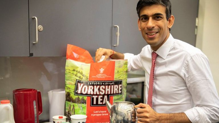 Rishi Sunak posed with a bag of Yorkshire Tea teabags in the Treasury