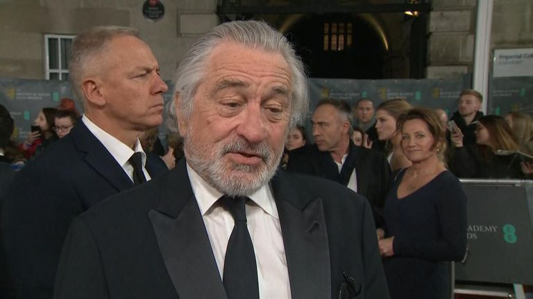 Robert de Niro talks to Sky News on the red carpet